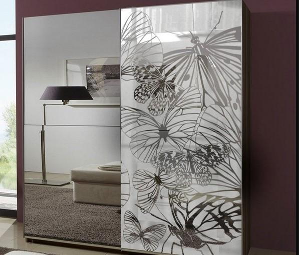 Шкаф купе зеркальный с рисунком