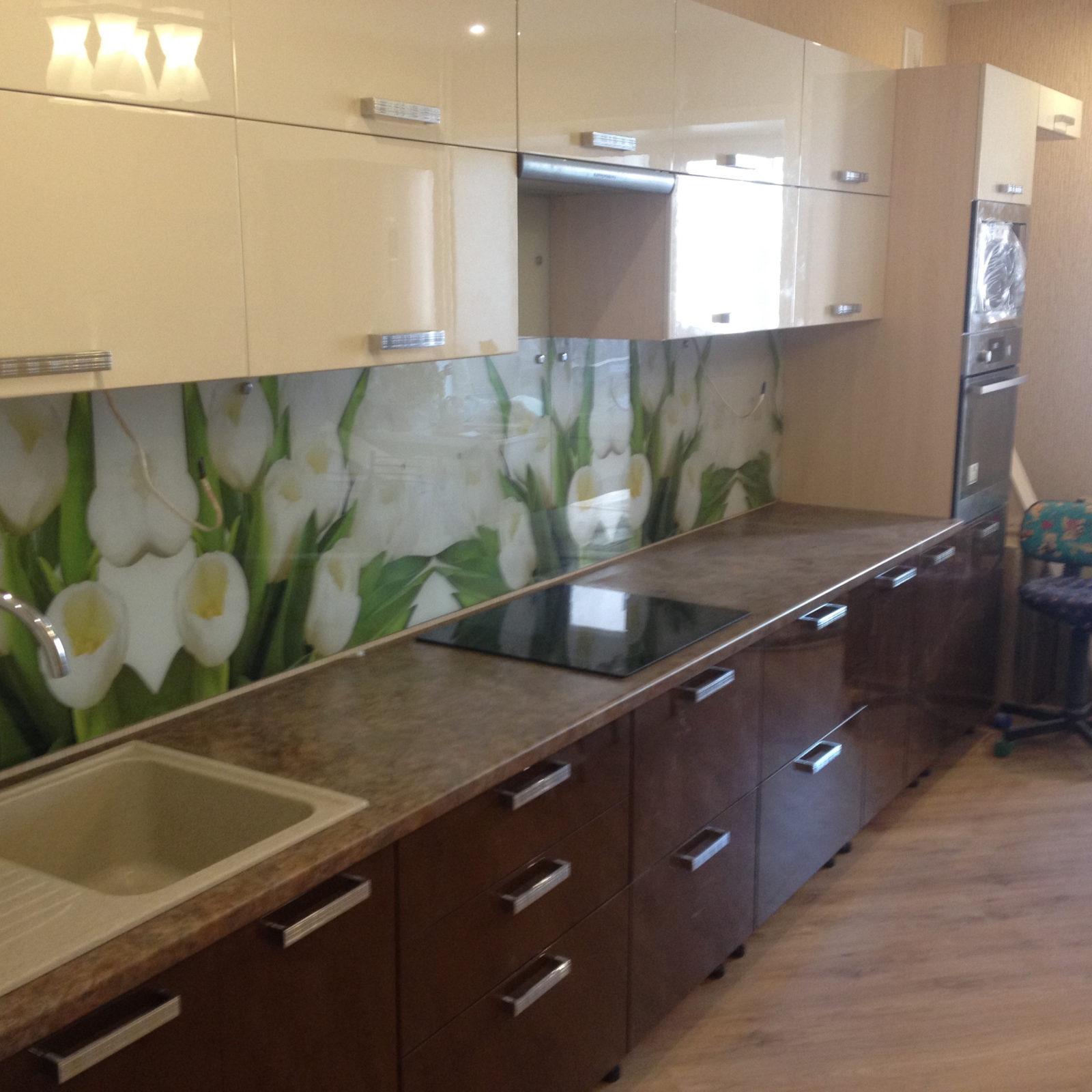 Кухня с крашеным фасадом